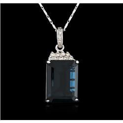 14KT White Gold 31.80 ctw Topaz and Diamond Pendant With Chain