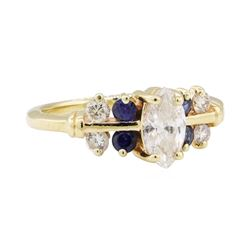 0.70 ctw Diamond and Sapphire Ring - 14KT Yellow Gold