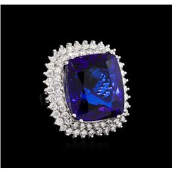 14KT White Gold GIA Certified 43.23 ctw Tanzanite and Diamond Ring