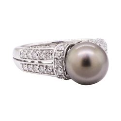 0.86 ctw Tahitian Pearl and Diamond Ring - 14KT White Gold