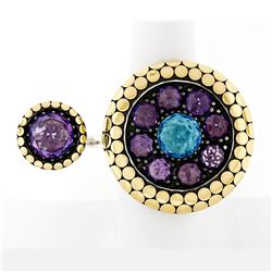 John Hardy Dot 18k Gold & Silver Amethyst & Blue Topaz Two Finger Statement Ring