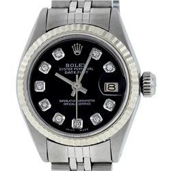 Rolex Ladies Stainless Steel Black Diamond 26MM Datejust Wristwatch