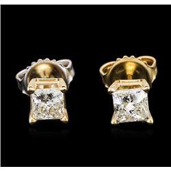 14KT Yellow Gold 0.87 ctw Diamond Stud Earrings