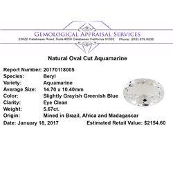 5.67 ct.Natural Oval Cut Aquamarine