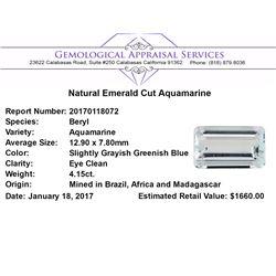 4.15 ct.Natural Emerald Cut Aquamarine