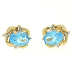 14K Yellow Gold 1.18 ctw Oval Blue Topaz & Round Diamond Halo Stud Earrings