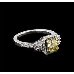 1.56 ctw Fancy Light Yellow Diamond Ring - 14KT White Gold