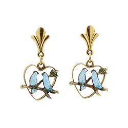 Blue Enameled Bird Earrings - 14KT Yellow Gold