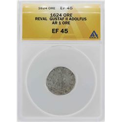 1624 Revel Ore Gustaf II Adolfus Coin ANACS XF45