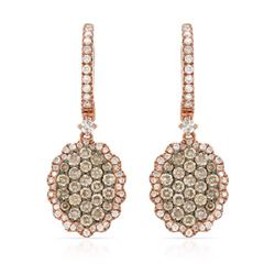 14k Rose Gold 1.23CTW Diamond and Brown Diamonds Earrings, (SI/H)