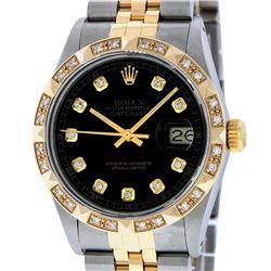 Rolex Mens 2 Tone 14K Black Pyramid Diamond 36MM Datejust Wristwatch