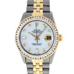 Rolex Mens 2 Tone 14K MOP Princess Cut Diamond Datejust Wristwatch With Rolex Bo