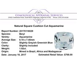 1.92 ct.Natural Square Cushion Cut Aquamarine