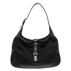 Gucci Black Canvas Leather Trim Jackie Shoulder Bag