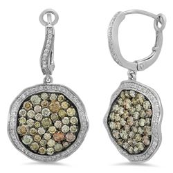 14k White Gold 2.54CTW Diamond and Multicolor Dia Earrings, (Gold)
