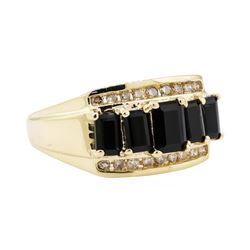 2.30 ctw Onyx and Diamond Ring - 14KT Yellow Gold