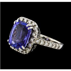 GIA Cert 9.36 ctw Tanzanite and Diamond Ring - 14KT White Gold