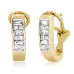 14k Yellow Gold 0.50CTW Diamond Earrings, (H-I)
