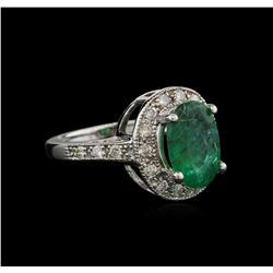 2.93 ctw Emerald and Diamond Ring - 14KT White Gold