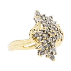 1.00 ctw Diamond Cluster Ring - 14KT Yellow Gold
