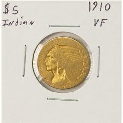 1910 $5 Indian Head Half Eagle Gold Coin