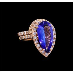 5.53 ctw Tanzanite and Diamond Ring Set - 14KT Rose Gold