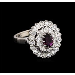0.78 ctw Purple Sapphire and Diamond Ring - 10KT White Gold