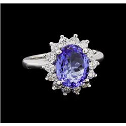 3.45 ctw Tanzanite and Diamond Ring - 14KT White Gold