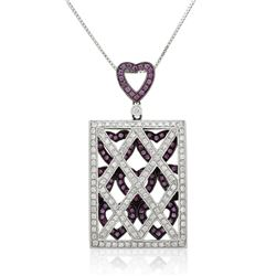 18k White Gold 1.53CTW Pink Sapphire and Diamond Pendant, (SI3-I1/Pink/G-H)