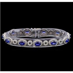 14KT White Gold 6.50 ctw Sapphire and Diamond Bracelet