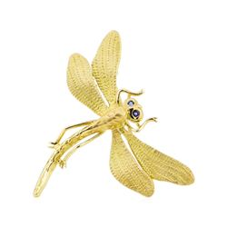 0.04 ctw Sapphire Dragonfly Brooch - 18KT Yellow Gold