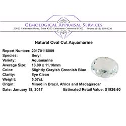 5.07 ct.Natural Oval Cut Aquamarine