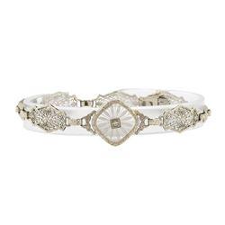 0.05 ctw Diamond Vintage Bracelet - 14KT White Gold