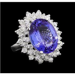 GIA Cert 11.27 ctw Tanzanite and Diamond Ring - 14KT White Gold