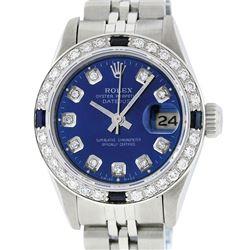 Rolex Ladies Stainless Steel Blue Diamond & Sapphire Datejust Wristwatch