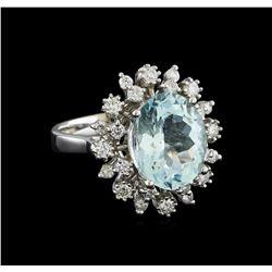 4.3 ctw Aquamarine and Diamond Ring - 14KT White Gold