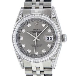 Rolex Mens Stainless Steel Slate Grey Lugs & Diamond Bezel Datejust Wristwatch