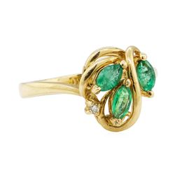 0.47 ctw Emerald and Diamond Ring - 14KT Yellow Gold