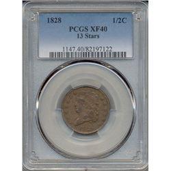 1828 Half Cent 13 Stars PCGS XF40