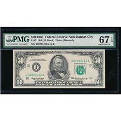 1969 $50 Kansas City Federal Reserve Note PMG 67EPQ