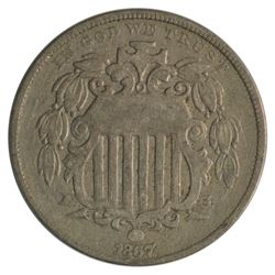 1867 Shield Nickel with Rays Coin