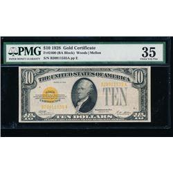 1928 $10 Gold Certificate PMG 35