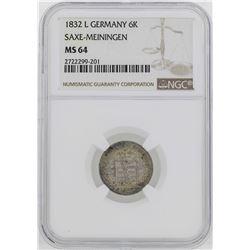 1832 Germany Saxe-Meiningen Bernhard II 6 Kreuzer Coin NGC MS64