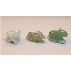 Natural Aquamarine 3 Piece Hand Carved Figurines