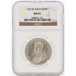 1921(B) India British King George V Rupee Key Date Silver Coin NGC MS63