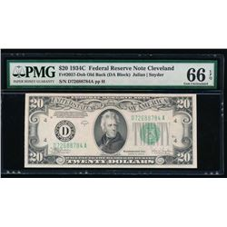 1934C $20 Cleveland Federal Reserve Note PMG 66EPQ