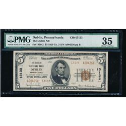 1929 $5 Dublin National Bank Note PMG 35