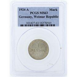 1924-A 1 Mark Germany Weimar Republic PCGS MS63