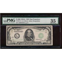 1934A $1000 San Francisco Federal Reserve Note PMG 35