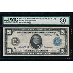 1914 $20 Kansas City Federal Reserve Note PMG 30